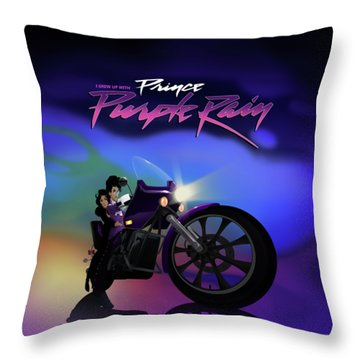 I Grew Up With Purplerain 2 Throw Pillow by Nelson dedos Garcia