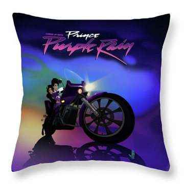 I Grew Up With Purplerain Throw Pillow by Nelson dedos Garcia