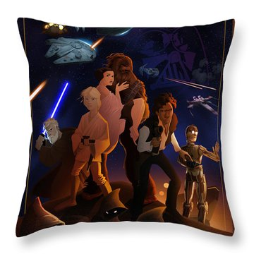 I Grew Up With Starwars Throw Pillow by Nelson Dedos  Garcia