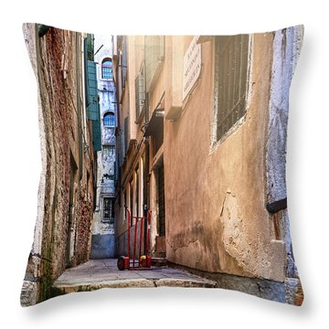 I Have Seen Your Trolley, Somewhere In Venice Throw Pillow