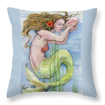 Throw Pillow featuring the painting Mermaid by Lora Serra
