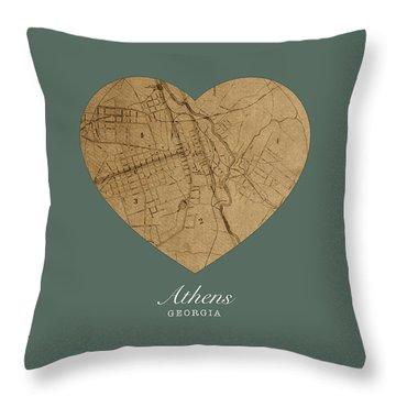 I Heart Athens Georgia Street Map Love Americana Series No 077 Throw Pillow