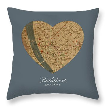 I Heart Budapest Hungary Street Map Love Series No 100 Throw Pillow