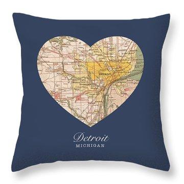 I Heart Detroit Michigan Vintage City Street Map Americana Series No 001 Throw Pillow