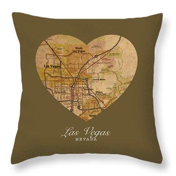 I Heart Las Vegas Nevada Vintage City Street Map Americana Series No 023 Throw Pillow
