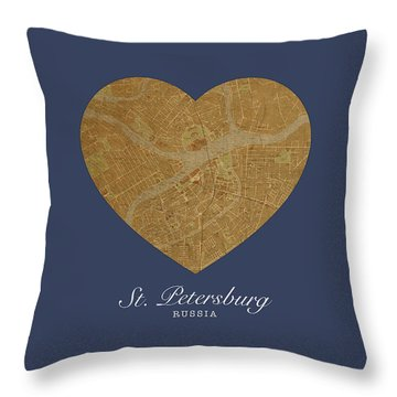 I Heart St Petersburg Russia Street Map Love Series No 096 Throw Pillow