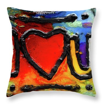 Throw Pillow featuring the painting I Heart You by Genevieve Esson