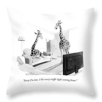 I Hit Every Traffic Light Coming Home Throw Pillow