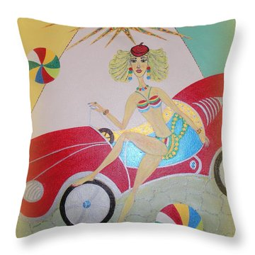 Throw Pillow featuring the painting I Lost My Balls by Marie Schwarzer