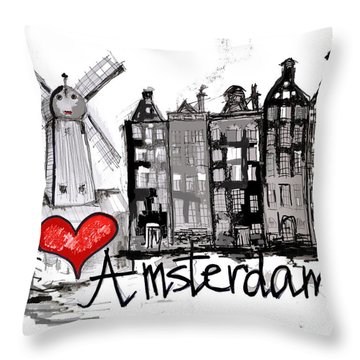 I Love Amsterdam Throw Pillow by Sladjana Lazarevic