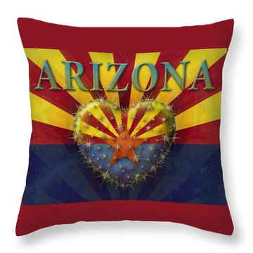 I Love Arizona Flag Throw Pillow