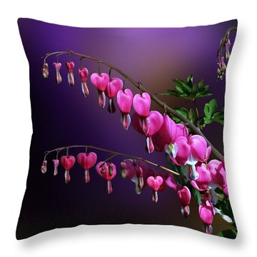 I Love Bleeding Hearts Throw Pillow by Judy  Johnson