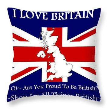 I Love Britain Throw Pillow