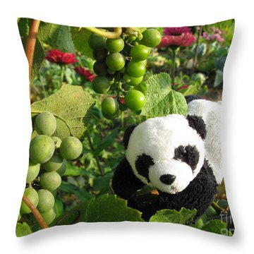 Throw Pillow featuring the photograph I Love Grapes B by Ausra Huntington nee Paulauskaite