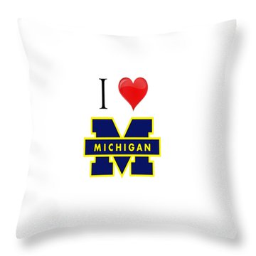 I Love Michigan Throw Pillow by Pat Cook