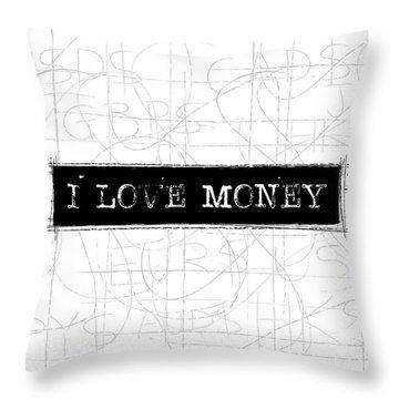 I Love Money Word Art Throw Pillow