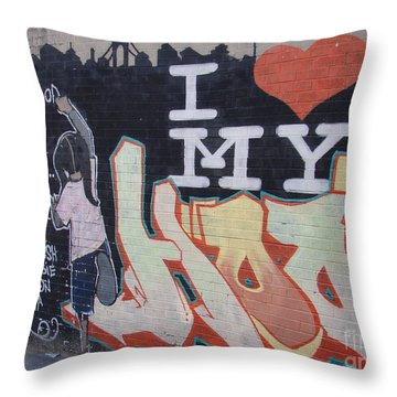 Throw Pillow featuring the photograph I Love My Hood by Cole Thompson