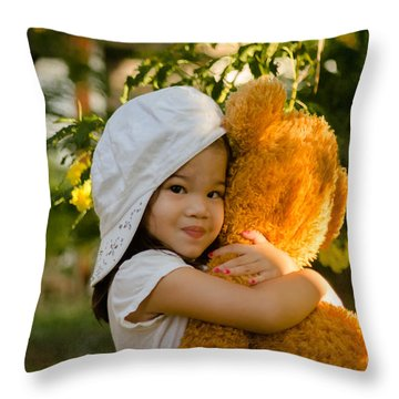 I Love My Teddy Bear Throw Pillow by Michelle Meenawong