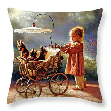 Throw Pillow featuring the painting I Love New Yorkies by Greg Olsen