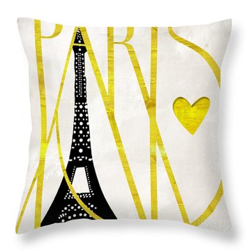 I Love Paris Throw Pillow by Mindy Sommers