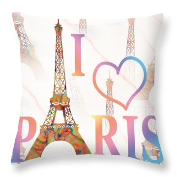 Throw Pillow featuring the painting I Love Paris Mixed Media by Georgeta Blanaru