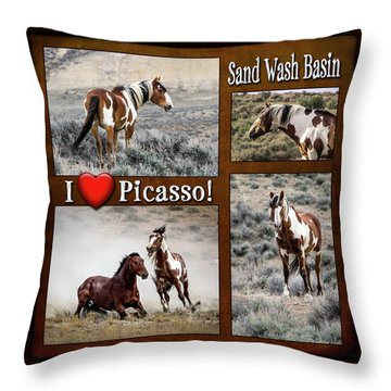 I Love Picasso Collage Throw Pillow