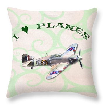 I Love Planes - Hurricane Throw Pillow