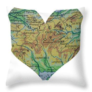 I Love Scotland Heart Map Throw Pillow