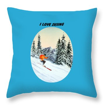 I Love Skiing  Throw Pillow by Bill Holkham