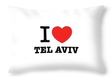 i love Tel Aviv Throw Pillow by Ron Shoshani
