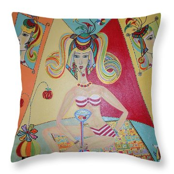 Throw Pillow featuring the painting I Love This Cherry by Marie Schwarzer