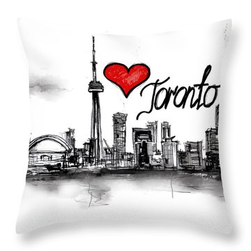 Throw Pillow featuring the drawing I Love Toronto by Sladjana Lazarevic
