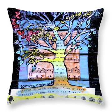 Throw Pillow featuring the painting I Love Trees by Genevieve Esson