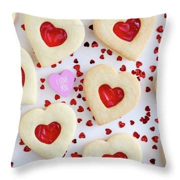 Throw Pillow featuring the photograph I Love You Heart Cookies by Teri Virbickis