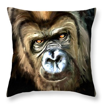 Gorilla Portrait Throw Pillow