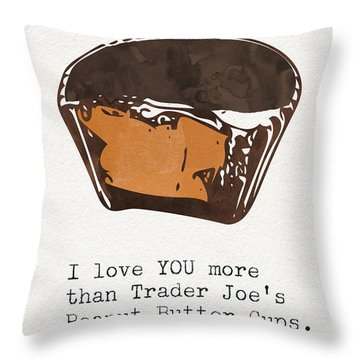 I Love You More Than Peanut Butter Cups Throw Pillow
