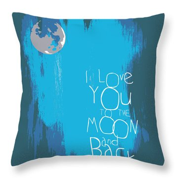 I Love You To The Moon And Back V7 Throw Pillow by Brandi Fitzgerald