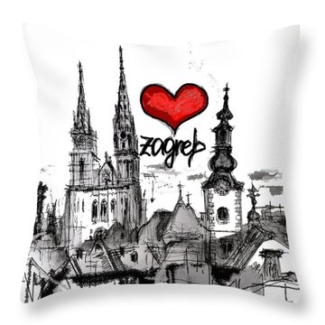 I Love Zagreb Throw Pillow by Sladjana Lazarevic
