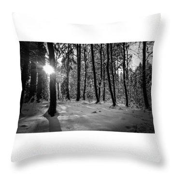 I Saw It.#bnw #monochrome #forest Throw Pillow