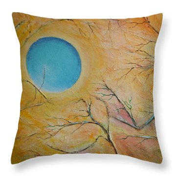 Throw Pillow featuring the painting I Saw You Standing Alone by Dan Whittemore