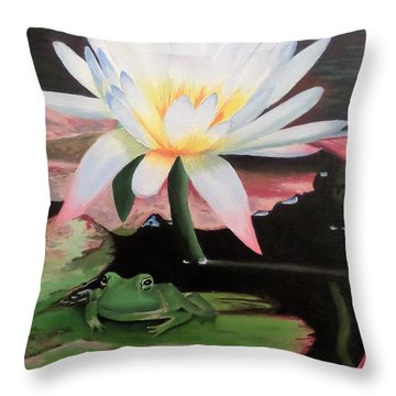 I See A Little Frog Throw Pillow