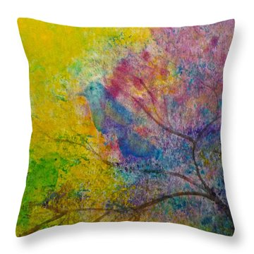 Throw Pillow featuring the painting I See Birds by Claire Bull
