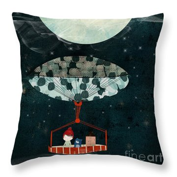 Throw Pillow featuring the painting I See The Moon Too by Bri B