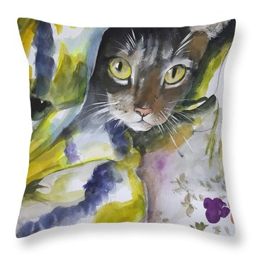 I See You .modern Pet Portrait In Watercolor. Throw Pillow