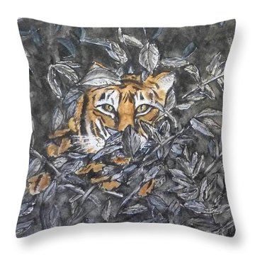 Throw Pillow featuring the painting I See You... Orange Tiger by Kelly Mills