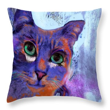 I See You Cat Throw Pillow