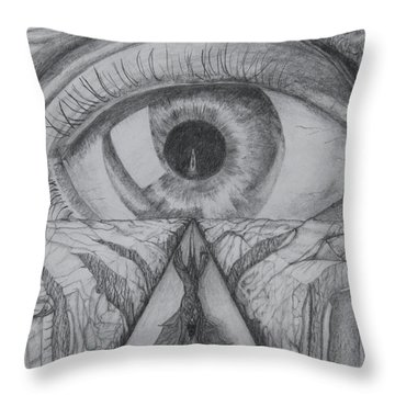 Throw Pillow featuring the drawing I Shadow by Charles Bates