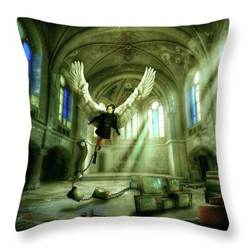 Throw Pillow featuring the digital art I Want To Brake Free by Nathan Wright