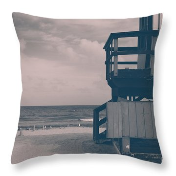 Throw Pillow featuring the photograph I Was Checkin' On The Surfin' Scene by Yvette Van Teeffelen