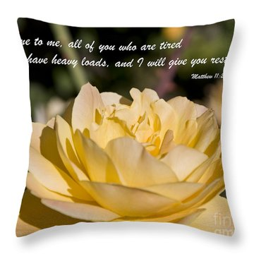 I Will Give You Rest Throw Pillow